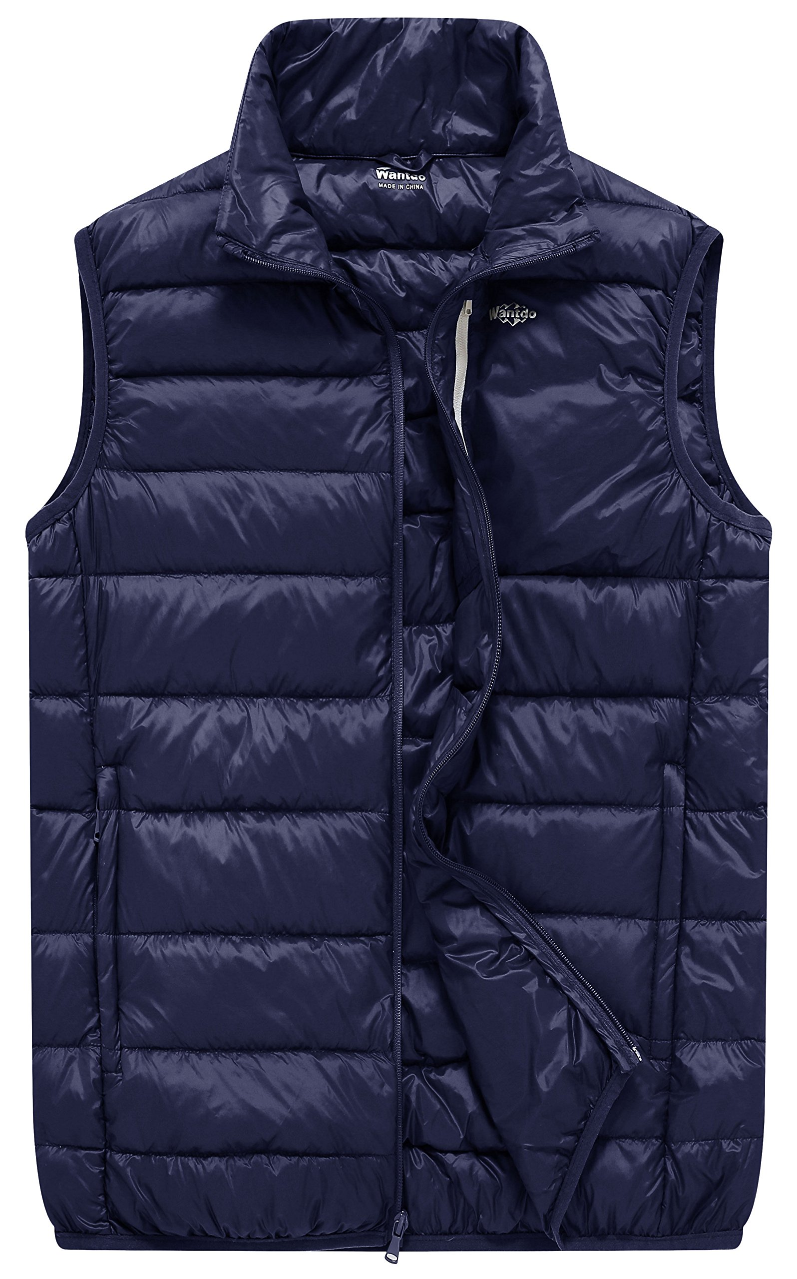 Wantdo Men's Packable Outdoor Ultra Light Heated Down Vest, Navy Blue, S