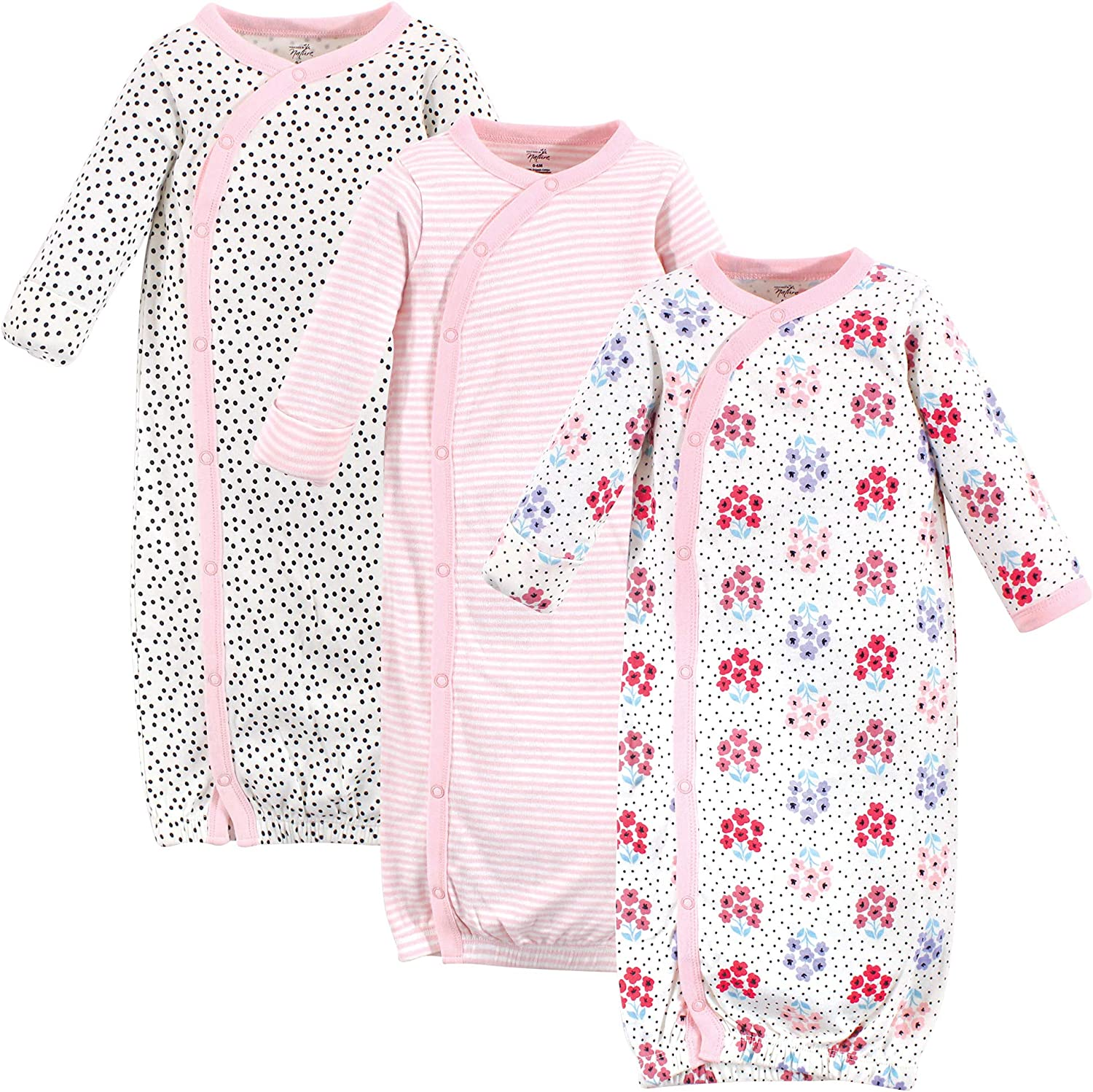 Touched by Nature Baby Girls Organic Cotton Kimono Gowns