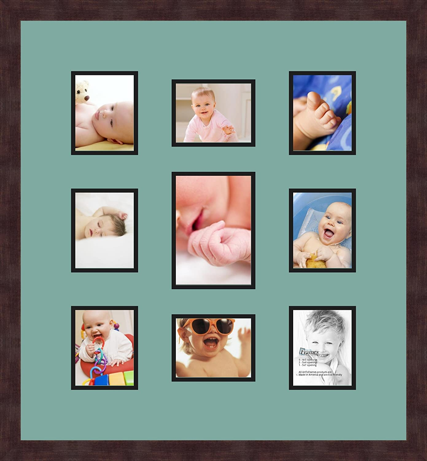 Art to Frames Double-Multimat-413-818//89-FRBW26061 Collage Frame Photo Mat Double Mat with 8-4x5 and 1-5x7 Openings and Espresso Frame