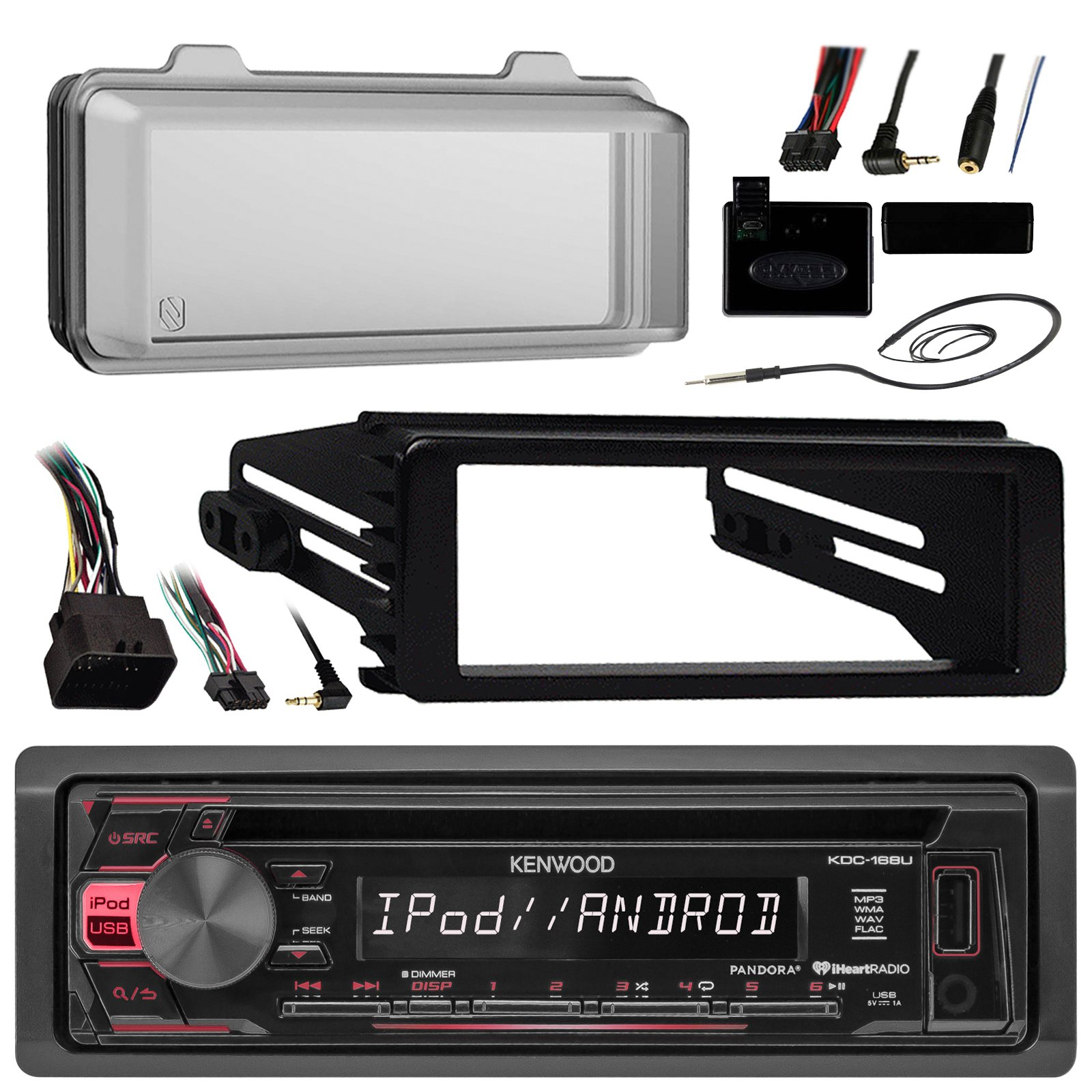 Kenwood KDC168U Radio USB AUX CD Player Receiver W/ Cover - Bundle With Install Dash Kit + Handle Bar Control + Enrock Antenna for 98 2013 Harley Touring Flht Flhx Flhtc Motorcycle Bike