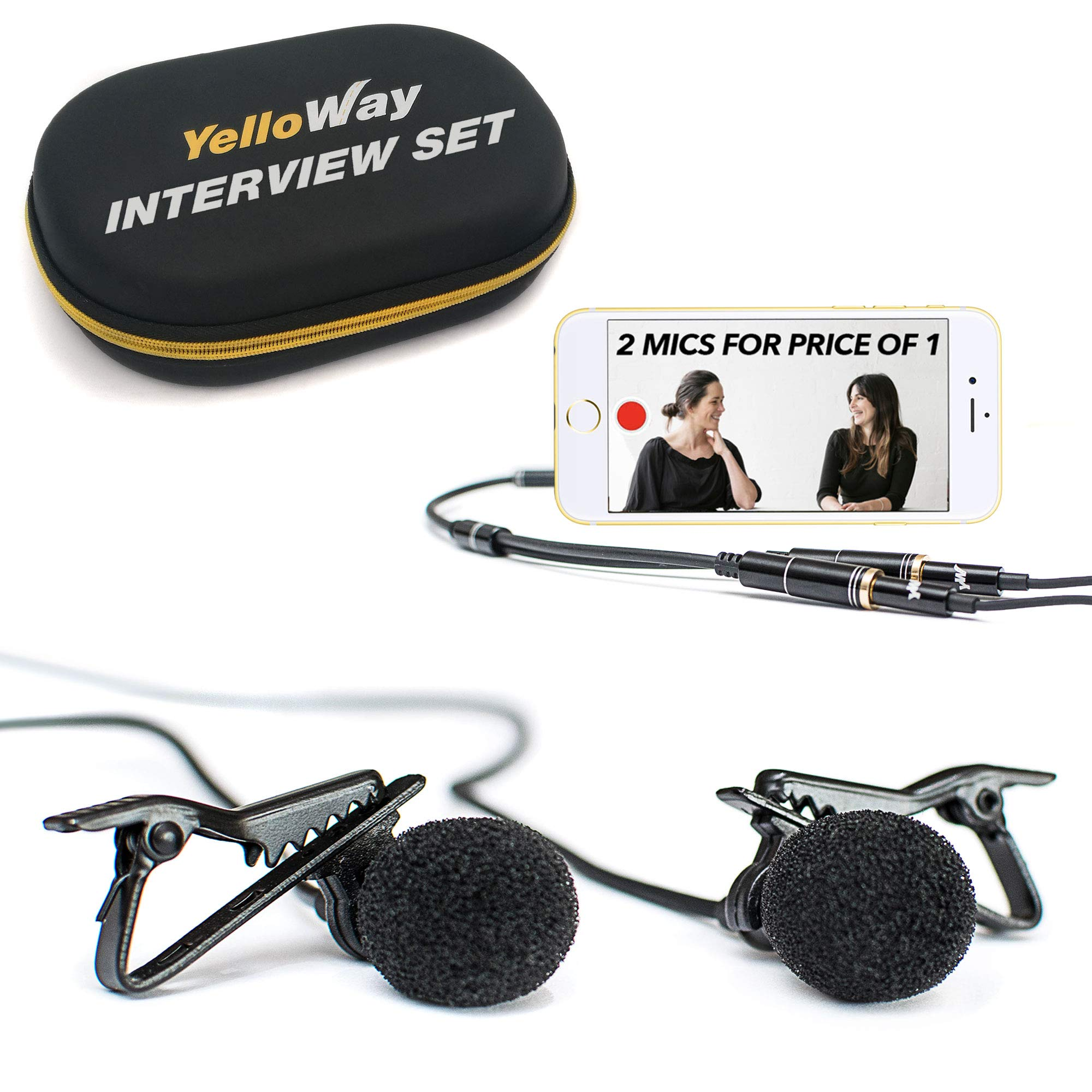Dual Lavalier Lapel Microphone - for Interviews - 2 Persons Podcast Microphone Pack - 2 Conference Room Omnidirectional Microphone Set
