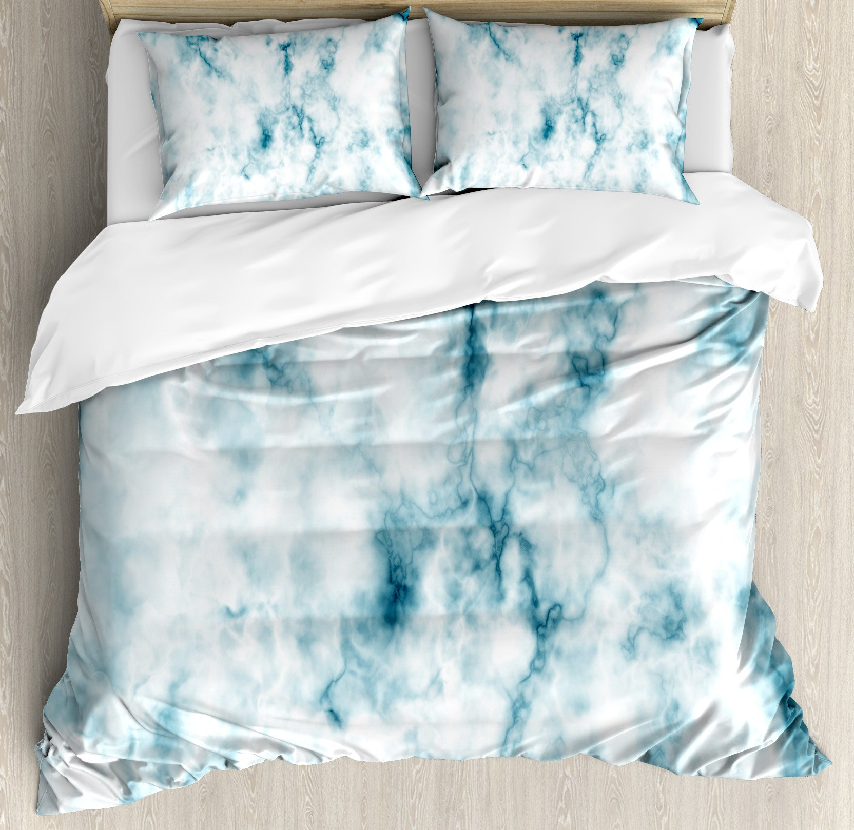 Apartment Decor Duvet Cover Set by Ambesonne, Fluffy Cloud Skyline Like Marble Motif with Grunge Features Art Image, 3 Piece Bedding Set with Pillow Shams, Queen / Full, Turquoise