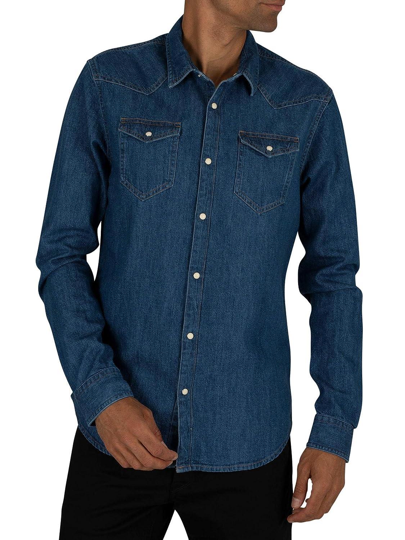 Bleu (Denim bleu 48) S Scotch & Soda Shirts Regular Fit Chemise Décontracté Homme