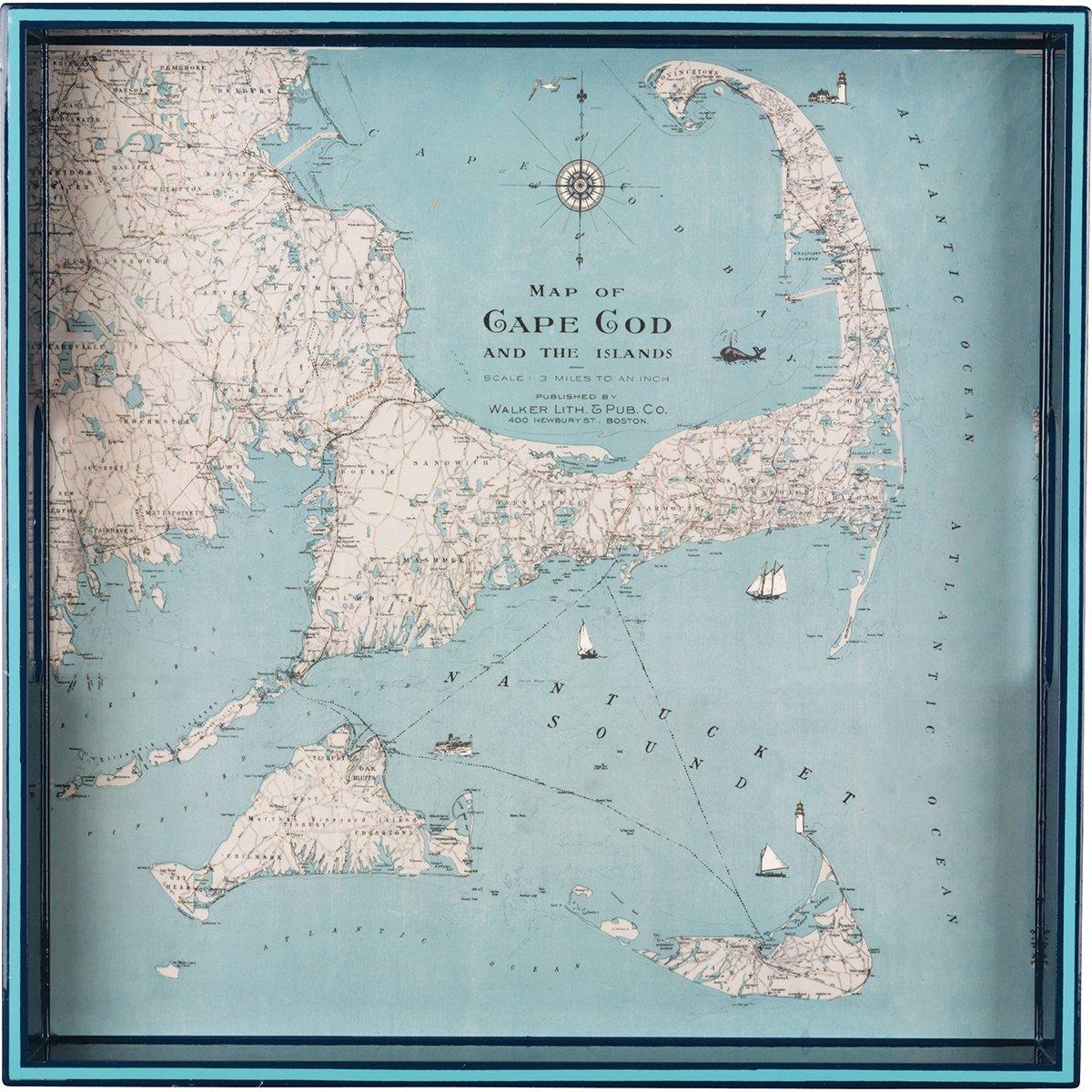 rockflowerpaper Cape Cod Nantucket Martha's Vineyard Decorative Lacquer Serving Tray, 15-Inch