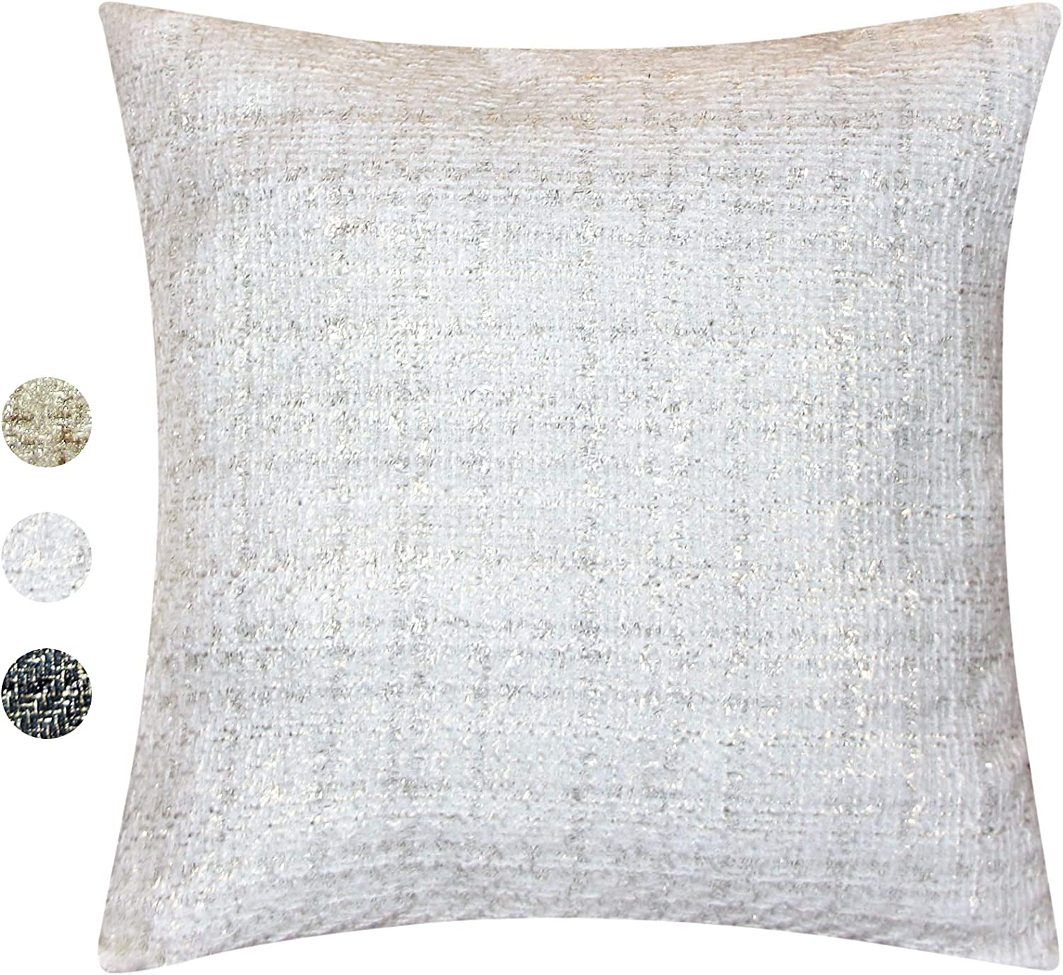 Holiday Christmas Tweed Decorative Pillow Cover – Throw Pillow Cover with Gold Metallic Finish – Cottage Home Décor Pillow Case – 18 x 18 Inch Farmhouse Rustic Cushion Cover, Ivory / Gold