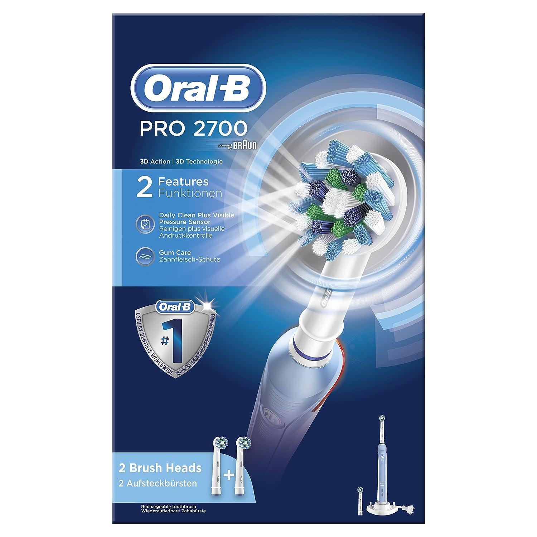 Oral-B PRO 2700 Adulto Cepillo dental oscilante Azul, Color blanco - Cepillo de dientes eléctrico (Batería, Integrado, 55 mm, 156 mm, 253 mm, ...