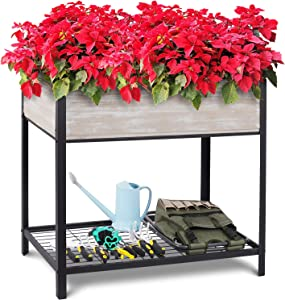 Raised Garden Bed, Elevated Wood Planter for Growing Fresh Herbs, Vegetables, Flowers, Succulents and Other Plants, Metal Frame Support, Indoor Outdoor Use, 38x22x36-inch