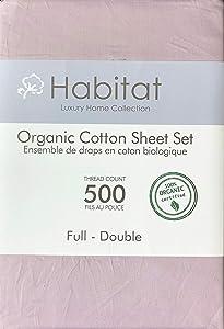 Habitat Organic Cotton Solid Light Purple 4pc Sheet Set Luxury Fine Linens 500 Thread Count (Full)