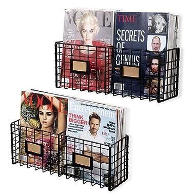 Wall35 Amalfi Metal Wire Baskets - Magazine Racks Organizer Holder - Wall Mounted Storage - Space Saving Design Set of 2 Black