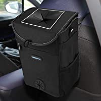 Reserwa Car Trash Can with Lid and Storage Pocket Leakproof Car Garbage Can Portable Auto car trash bag Hanging or…
