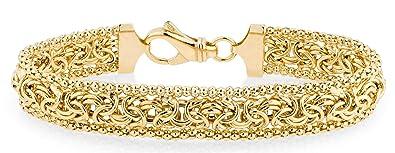 6ea86d6531ba83 MiaBella 18K Gold Over Sterling Silver Italian Byzantine Beaded Mesh Link Chain  Bracelet for Women,
