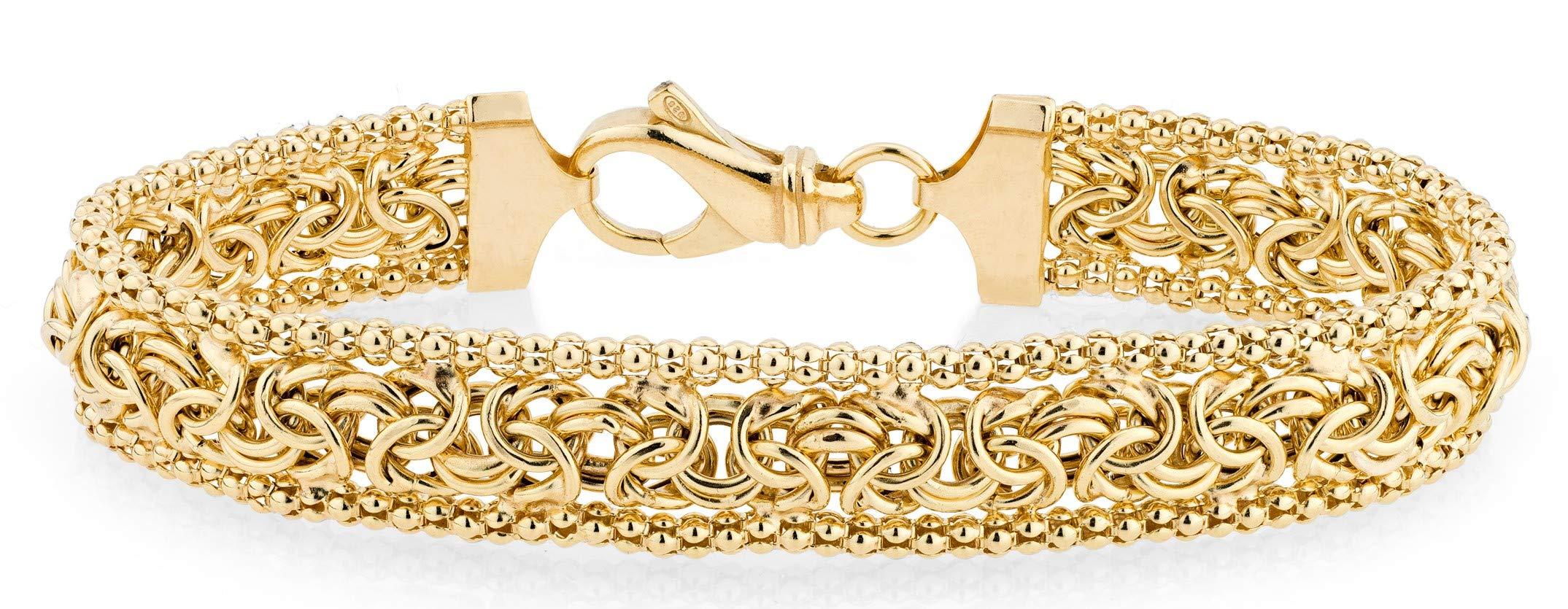 MiaBella 18K Gold Over Sterling Silver Italian Byzantine Beaded Mesh Link Chain Bracelet for Women, 6.5'', 7'', 7.5'', 8'' 925 Italy (8.00)