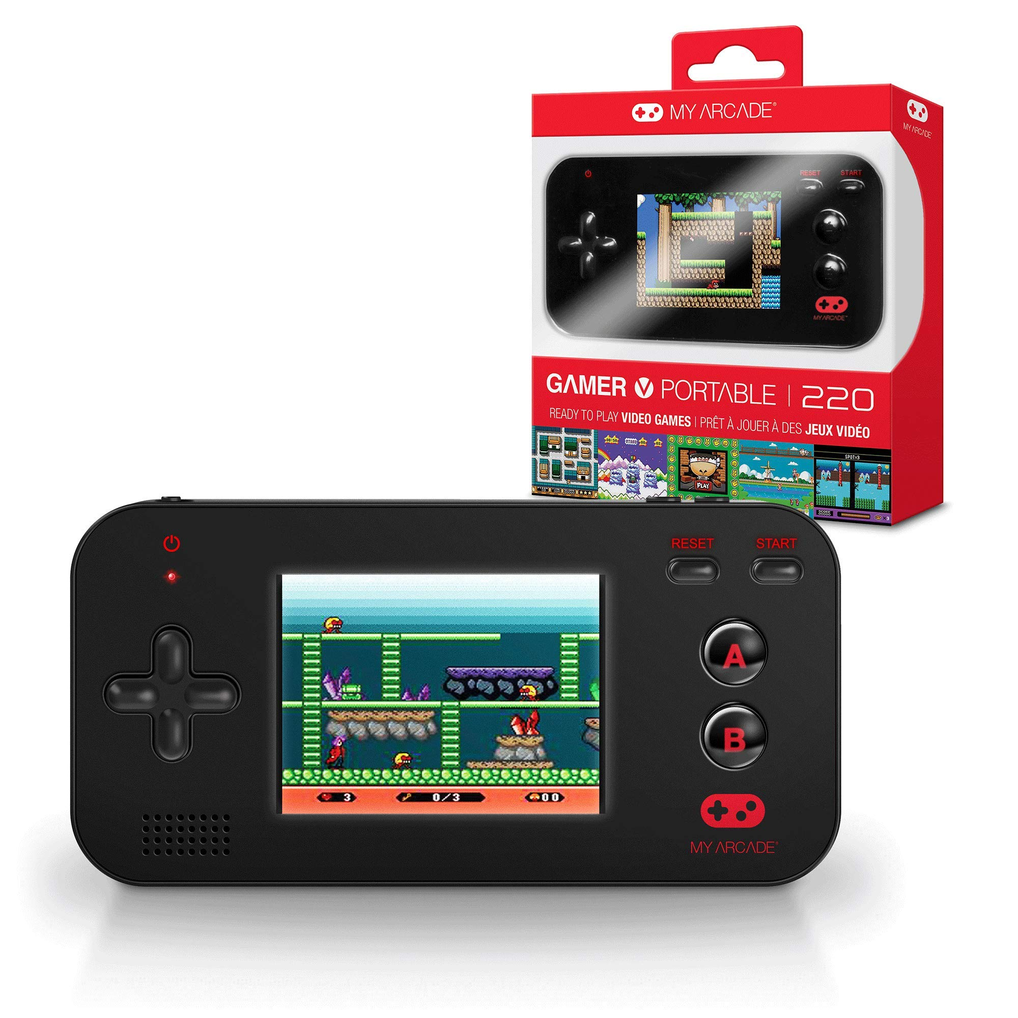 My Arcade Gamer V Portable - Handheld Gaming System - 220 Retro Style Games - Lightweight Compact Size - Battery Powered - Full Color Display - Volume Buttons - Black by My Arcade