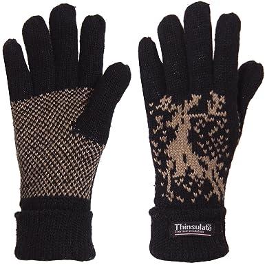 d007e59d9acb00 Brubaker Damen oder Herren Thinsulate Rentier Fingerhandschuhe Shetland  Wolle gefüttert: Amazon.de: Bekleidung