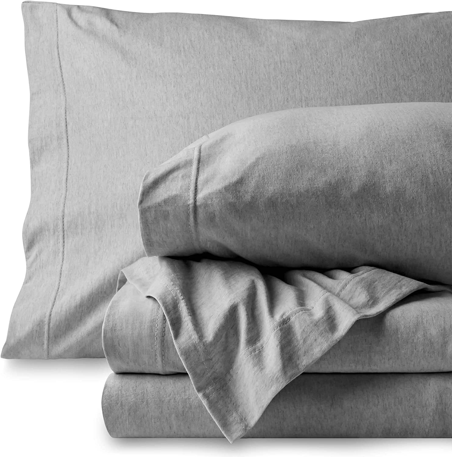 Bare Home Jersey Sheet Set, Ultra Soft, 100% Cotton - Breathable - Deep Pocket (Twin, Frost Grey - Mélange)