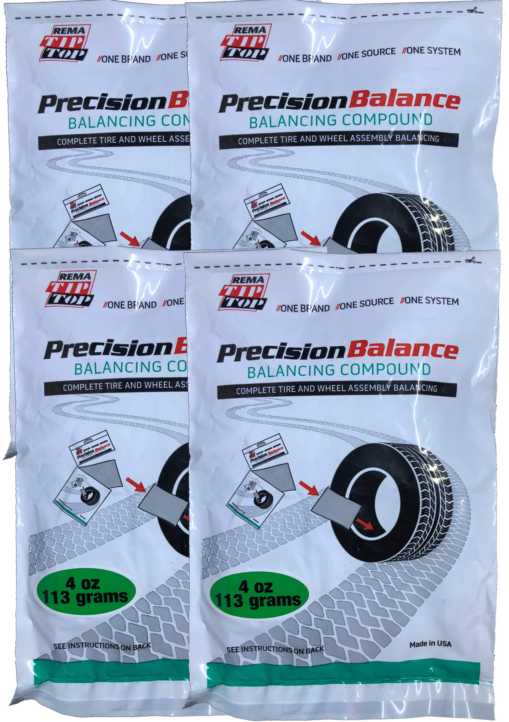 Rema Tip Top 4 PrecisionBalance Tire Balancing Compound Beads Kits - Drop in Bags - (4 oz. / 113 Grams) - (4 Kits) by Rema Tip Top