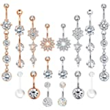 Adramata 8-16PCS 14G Belly Button Rings Women Dangle Navel Rings Curved Barbell CZ Body Piercing