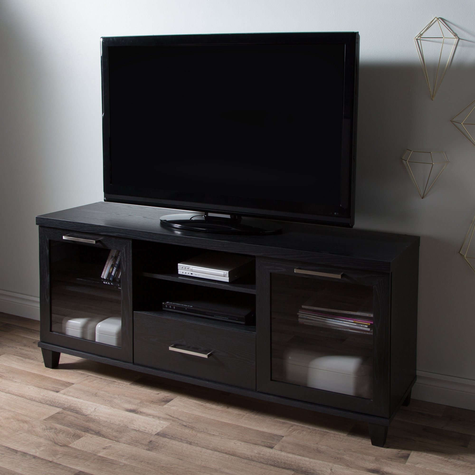 South Shore 9073662 Adrian Stand for Tvs Up to 60'',Black Oak by South Shore