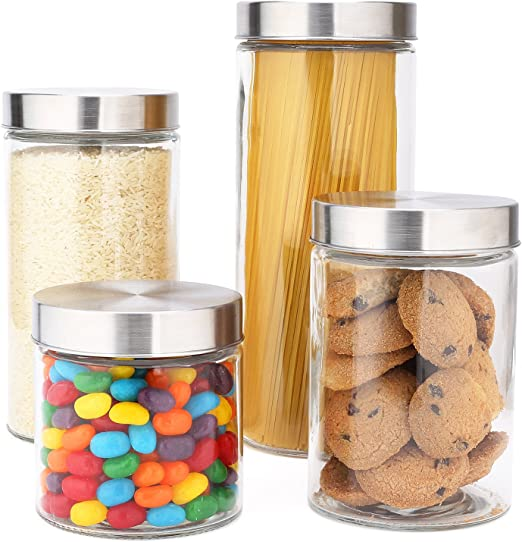 EatNeat 4-Piece Beautiful Glass Kitchen Canisters with Stainless Steel Lids - Food Storage Containers that Offer Modern Style and Clean Kitchen Organization - 72, 55, 38, and 27 Ounce Sizes
