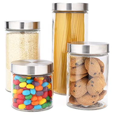 EatNeat Glass Canister Set with Stainless Steel Lids- 72/55/38/27 oz. (4-Piece Assorted)