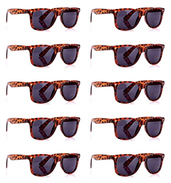 bfdd5cab2a5 SCLM Wayfarer 80 s Style Sunglasses 10 Bulk Pack Lot Neon Color Party  Glasses (Leopard 10 Pack) at Amazon Women s Clothing store