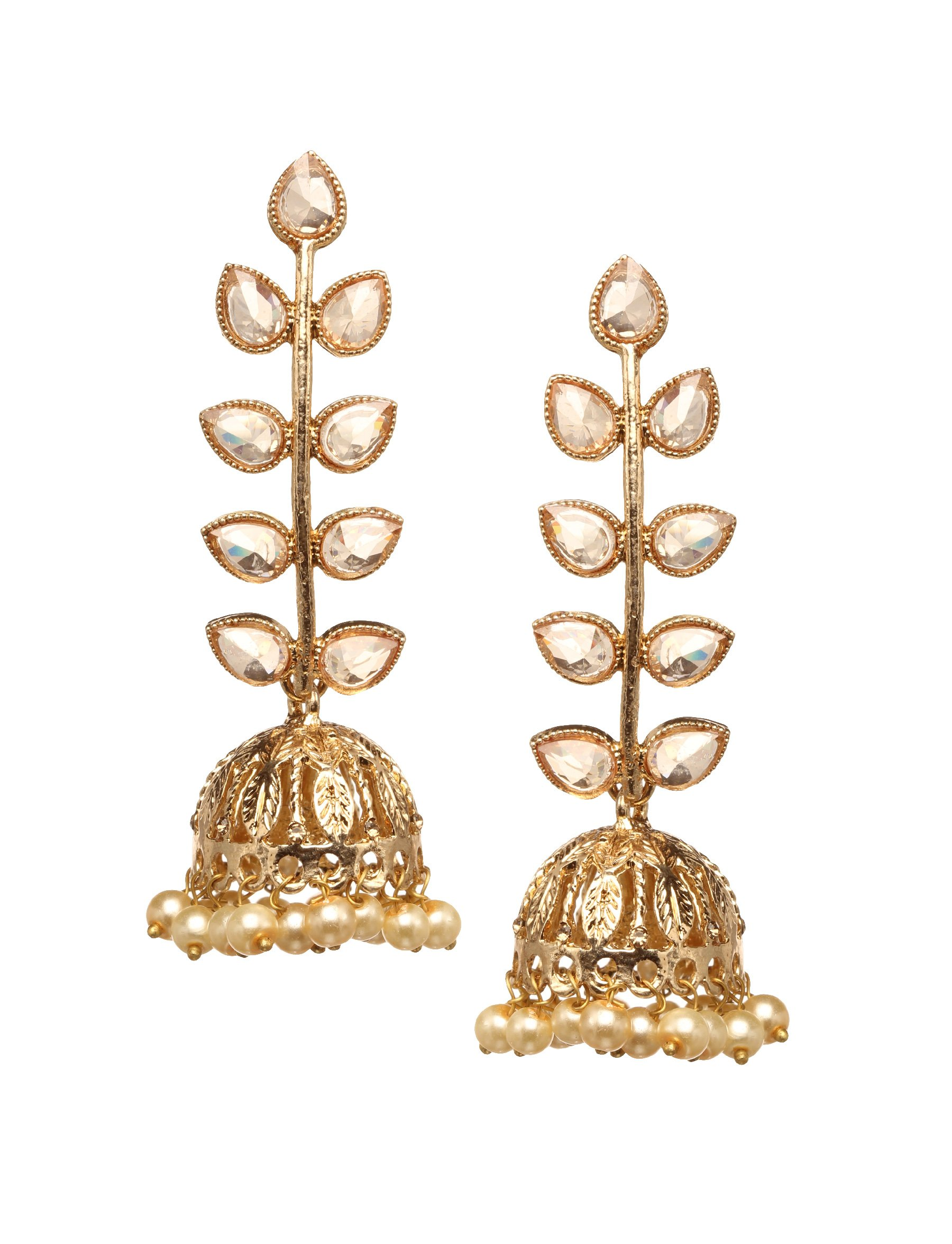 Bindhani Premium Bollywood Jewelry Wedding Long Golden Stone Indian Dangle & Jhumka Jhumki Earrings For Women