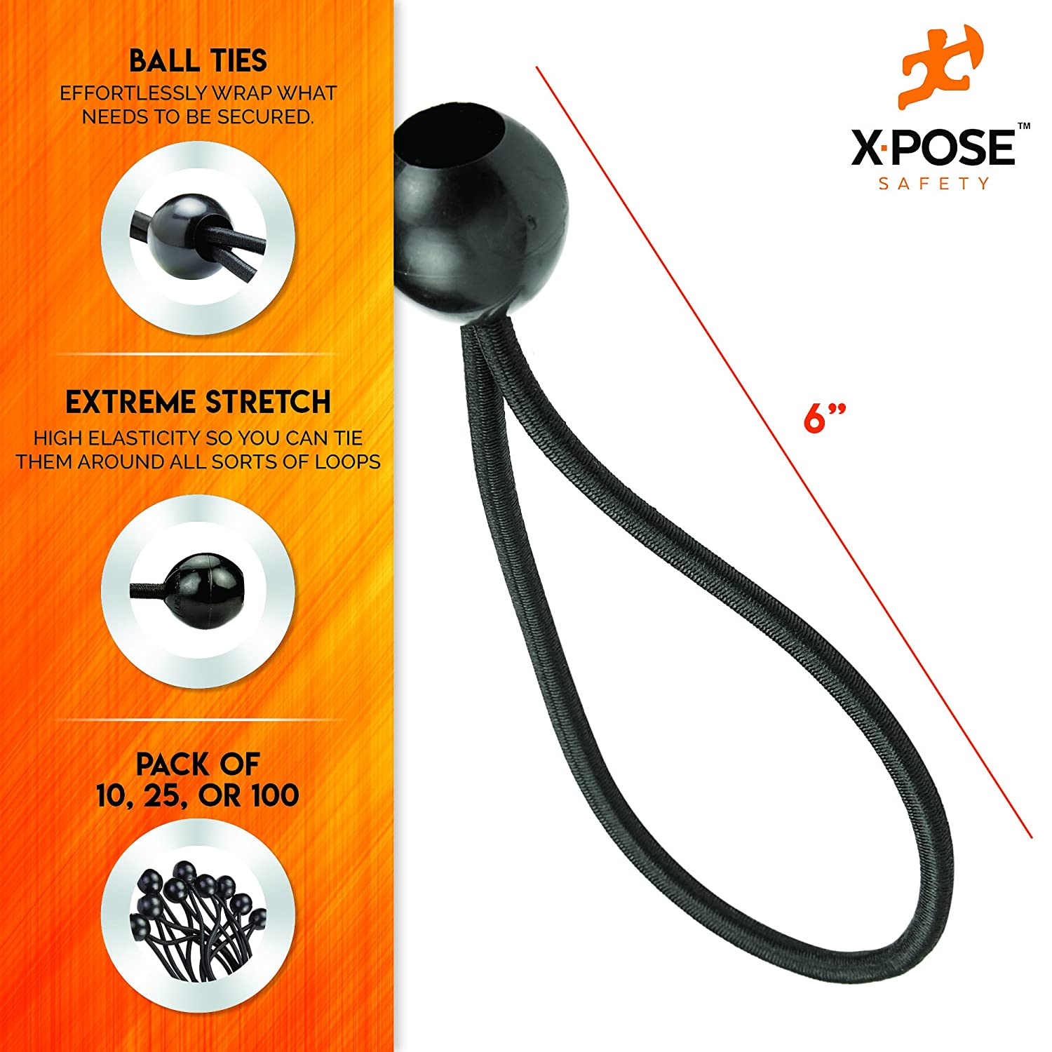 "Tarps Xpose Safety Bungee Ball Cords Cable Organization Heavy Duty Black Stretch Rope with Ball Ties for Canopies 6/"" 100 Pack Walls"