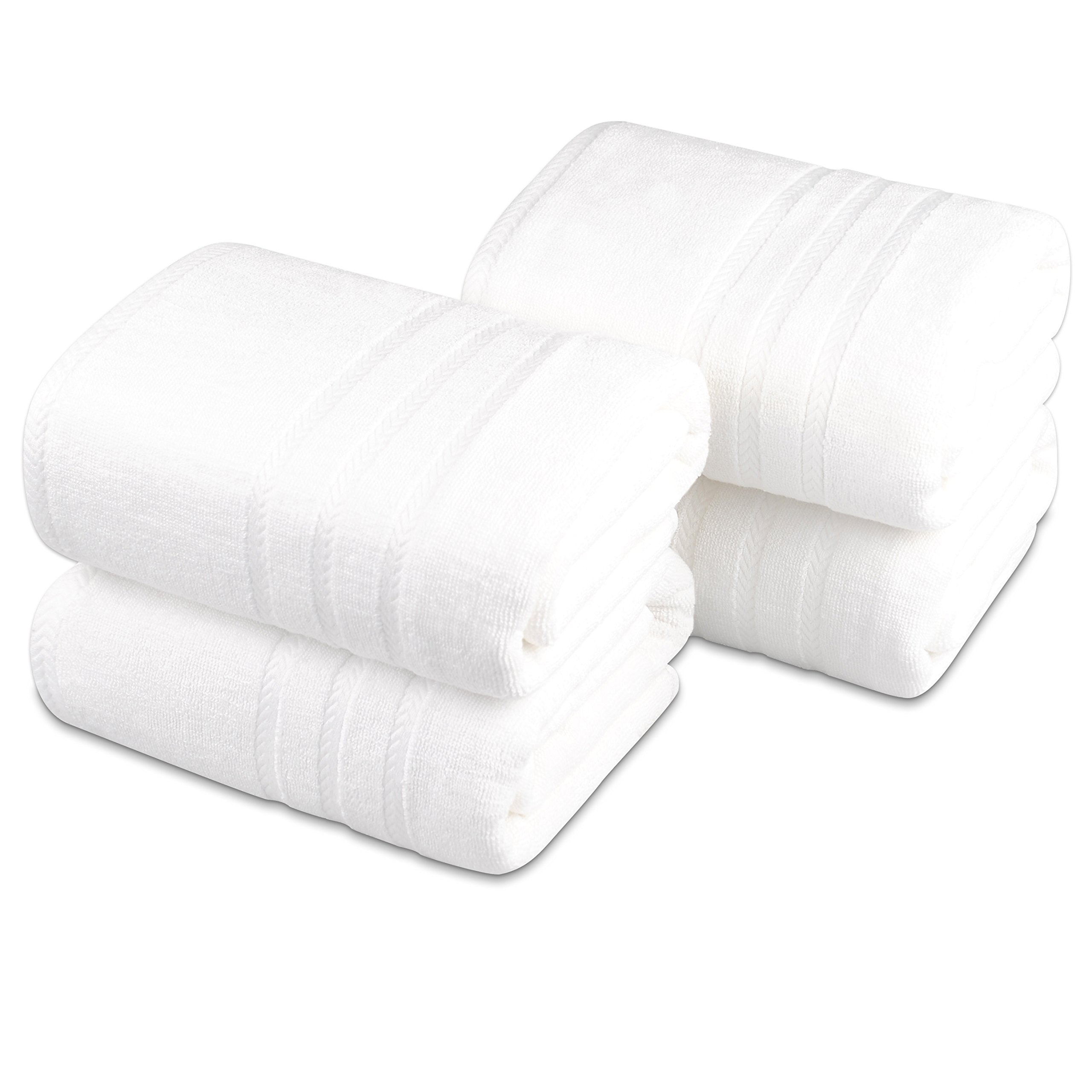 White Bath Towels Sets -Pack of 4 -Heavy Weight ,Oversize 28 X 55 Inch, 600 GSM, Made by Premium Bamboo Cotton,Ultra Soft for Everyday Use by Bamboo Classic (Image #2)