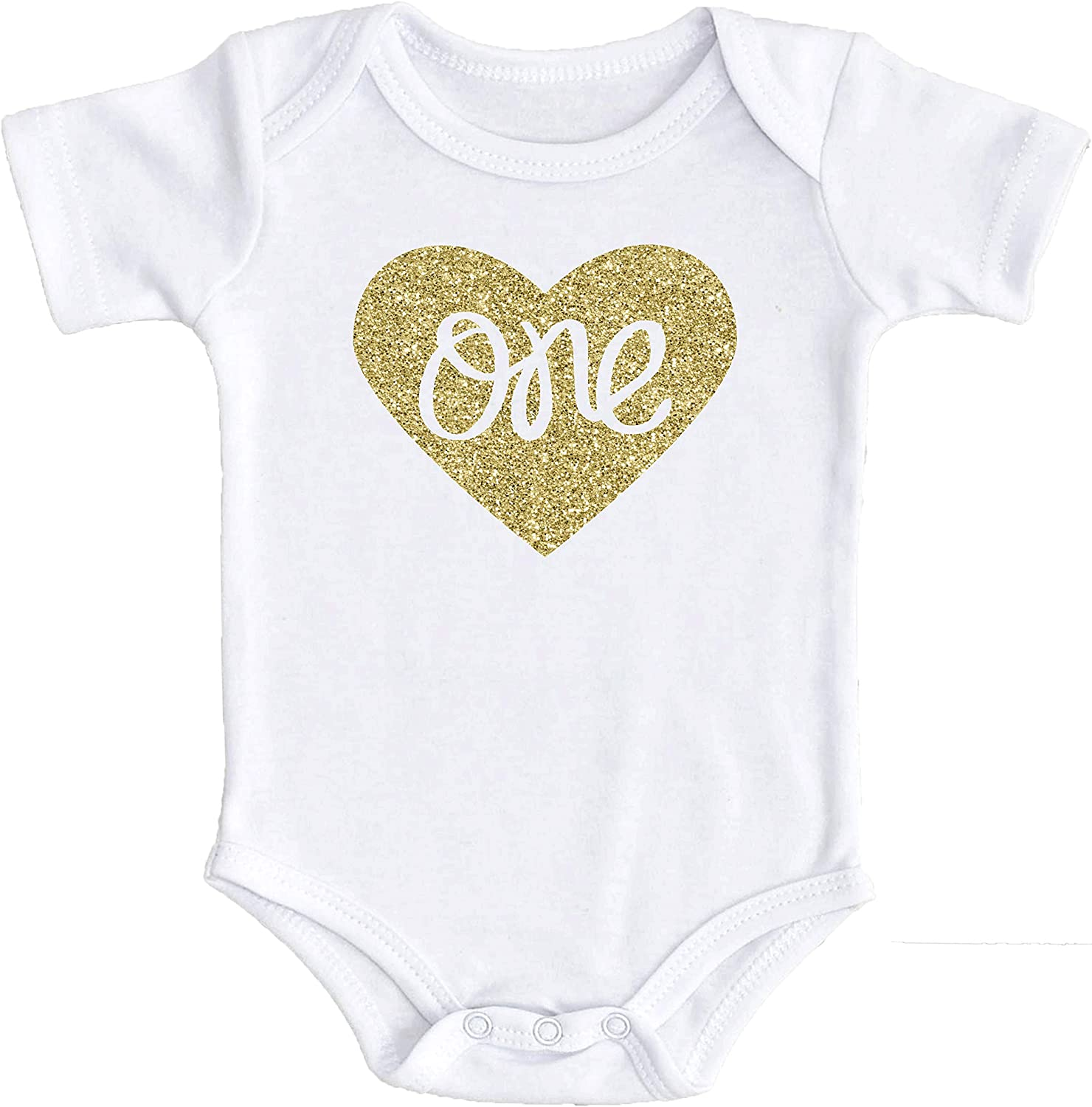 Baby Girls First Birthday Bodysuit Sparkly Gold One Inside Heart Design 1st Birthday Outfit Girl