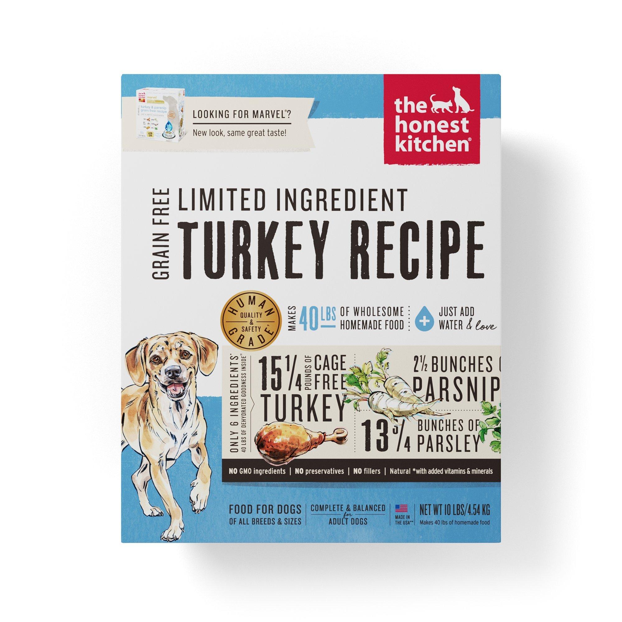 Honest Kitchen Limited Ingredient Turkey Dog Food Recipe  10 lb box - Marvel