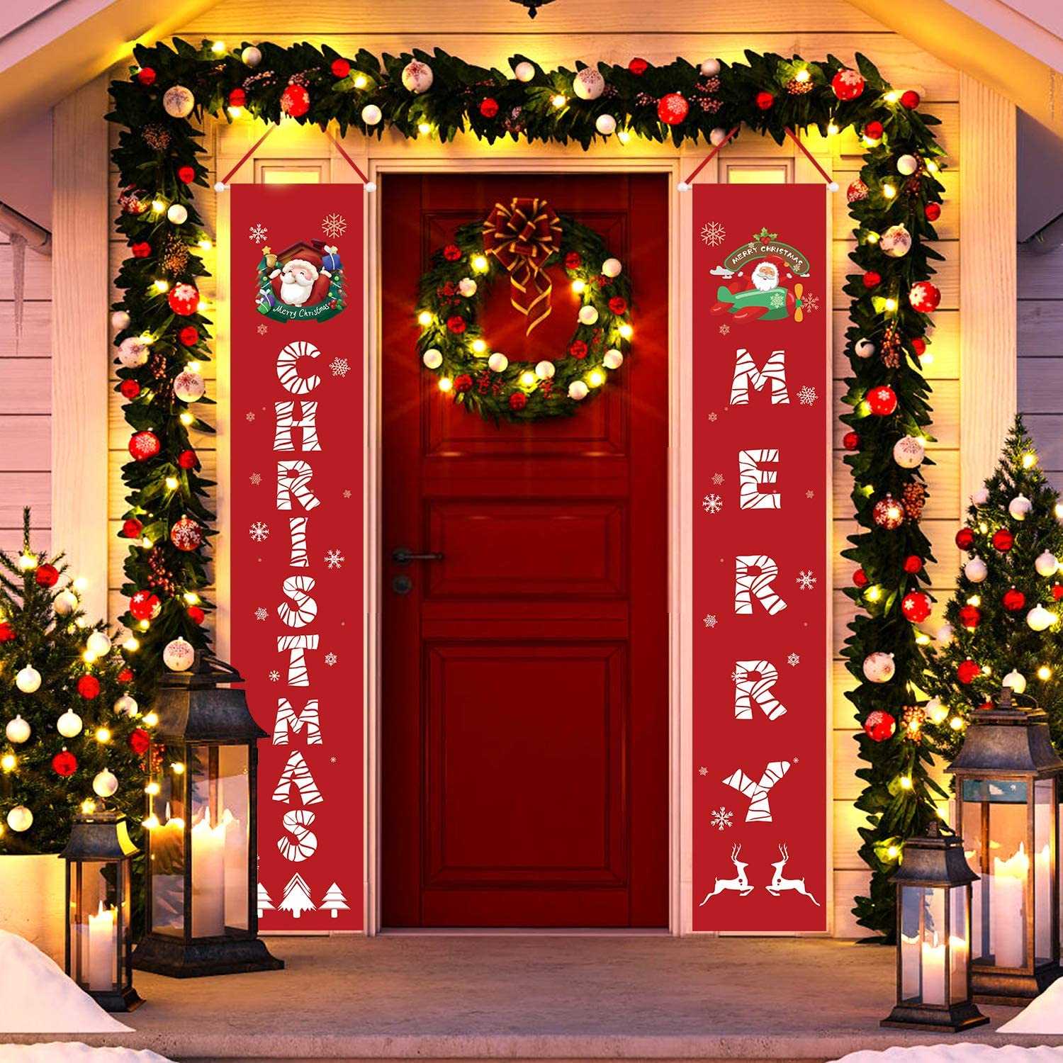Tobeape Christmas Decorations Indoor Outdoor, Merry Christmas Porch Signs for Front Door Yard Home Decor, Hanging Banners Flag for New Year Xmas Winter Holiday Party Supplies, Large Size 13 X 73 Inch