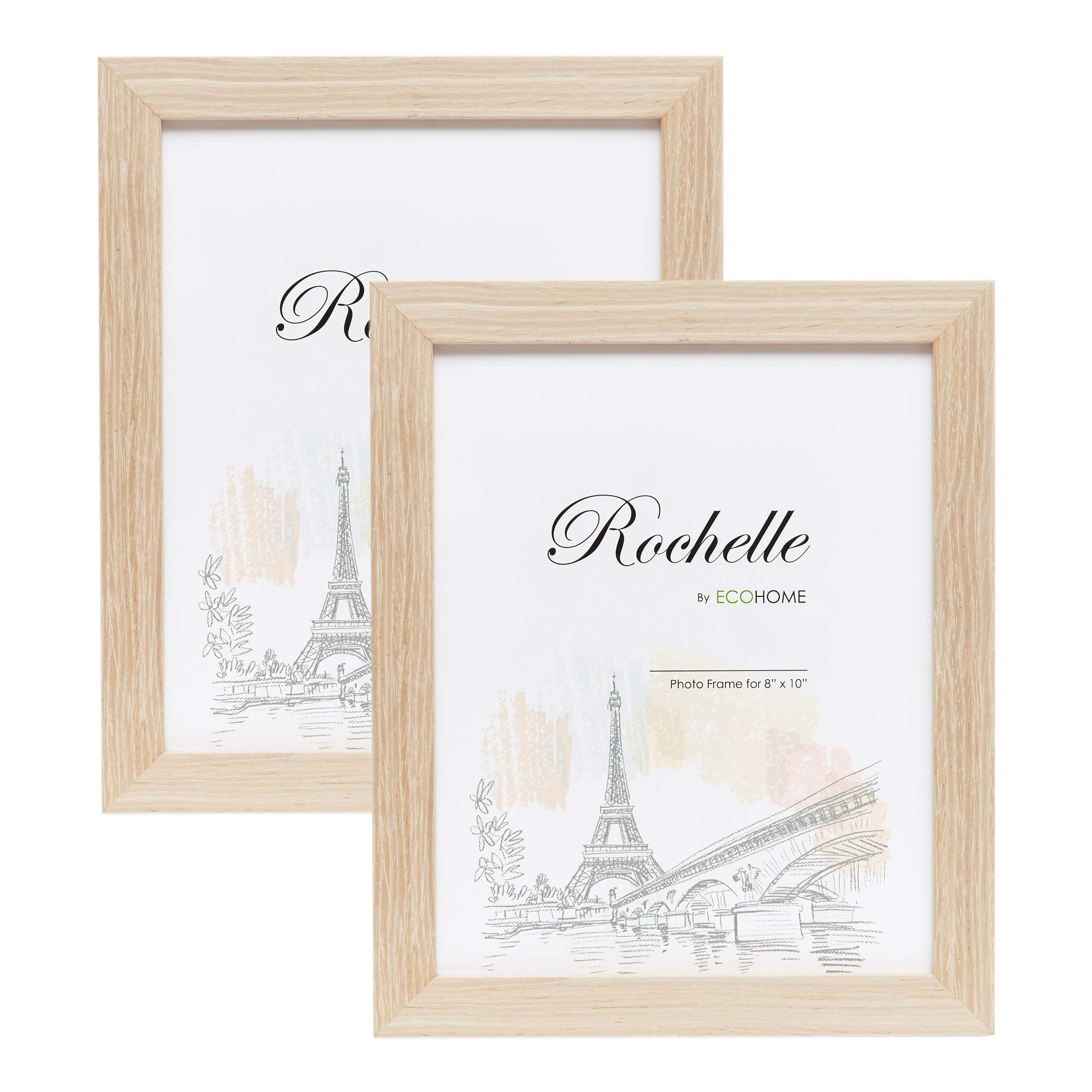 8x10 Picture Frame Distressed Cream - 2 Pack, Wall Mount Desktop Display, Frames by EcoHome by Eco-home