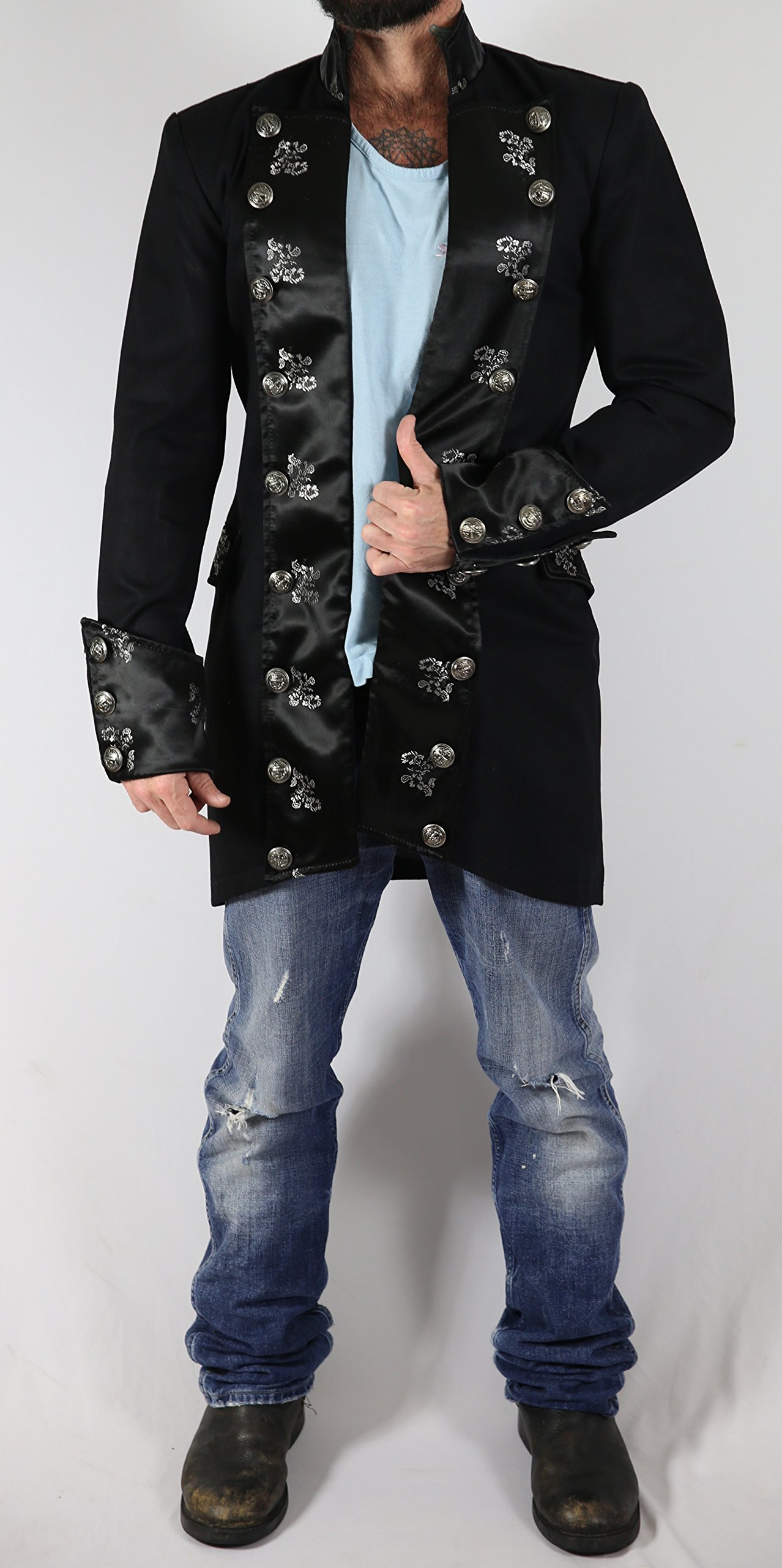 Eimee Men's Cotton Gothic Steampunk Outfit Vintage Dress Coat Pirate Top SPFL 4
