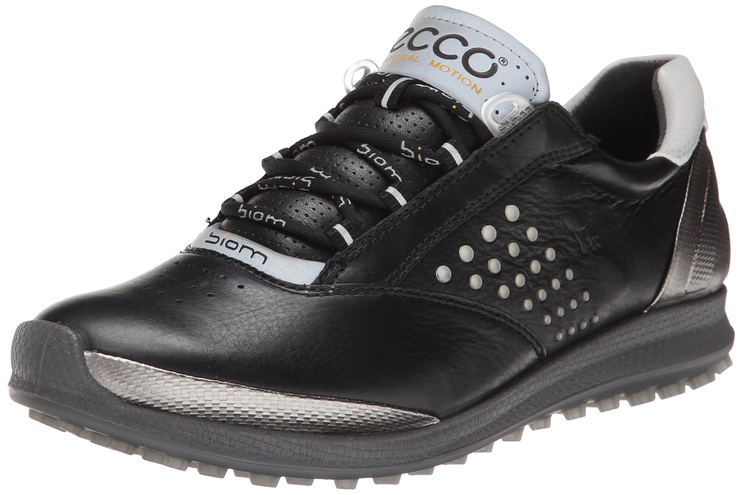ECCO Women's Biom Hybrid 2 Golf Shoe,Black/Buffed Silver,37 EU/6-6.5 M US