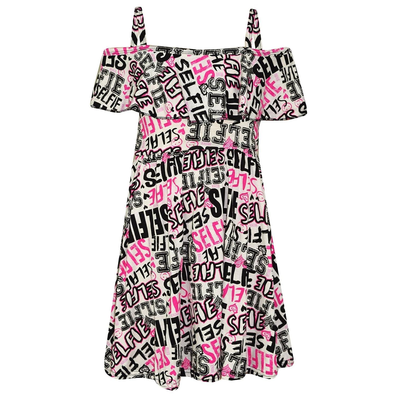 A2Z 4 Kids/® M/ädchen Skater Kleid Kinder Blumen Aufdruck Sommer Party Off Shoulder Kleider Alter 5 6 7 8 9 10 11 12 13 Jahre