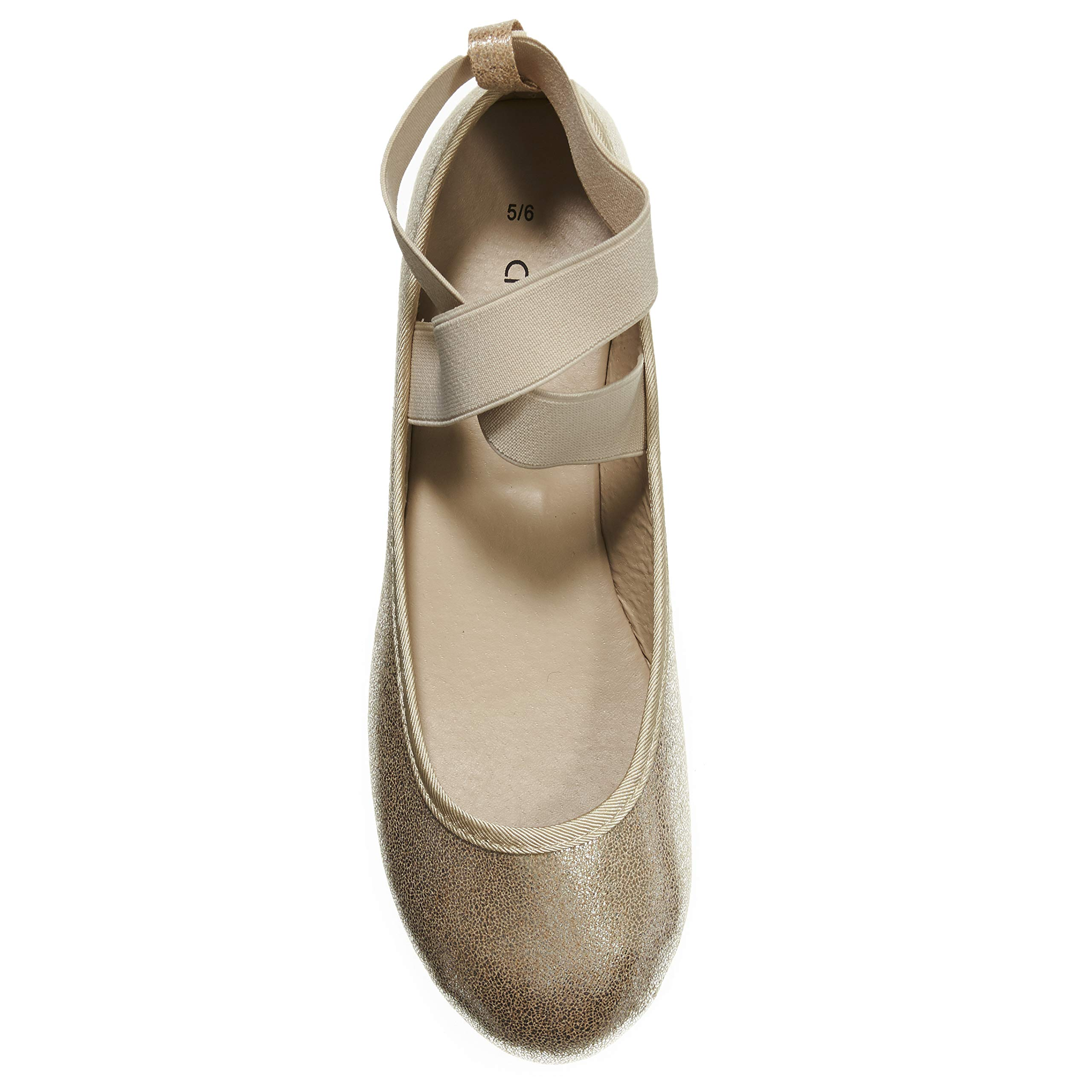 Women's Ballet Flats Size 5-6 Metallic with Elastic Straps Slip-On Shoes Gold