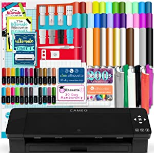 Silhouette Black Cameo 4 w/Blade Pack, 38 Oracal Sheets, HTV, Pens, Guides, & More