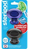 Steripod Clip-on Toothbrush Protector (2-Pack Violet & Black Pearl) I Protects Against Soap, Dirt and Hair I For Travel, Home, Camping