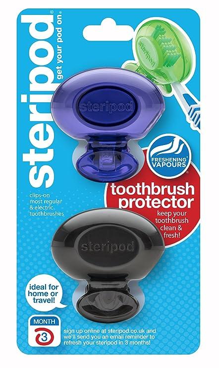Steripod - Juego de 2 protectores para cepillos de dientes, color violeta y negro perla