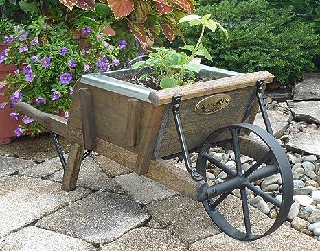 Carretilla de madera Mini rústico grado W/manchas de madera de ébano y planta maletero