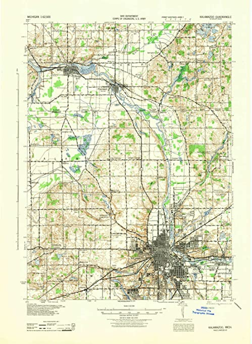 Amazon.com : YellowMaps Kalamazoo MI topo map, 1:62500 scale, 15 X on luna pier map, alger heights map, commerce twp map, city map, fort custer training center map, west chicagoland map, bad axe map, st. ignace map, saginaw valley map, madison heights map, cooper township map, west covina map, livonia map, davenport university map, grand rapids community college map, three rivers map, ypsilanti map, akron canton map, norman map, bangor map,