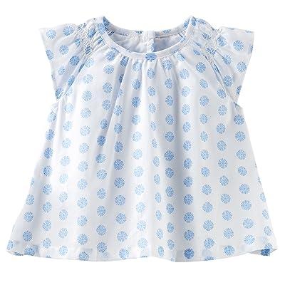 Oshkosh Girl Printed Ruffle-sleeve Top; 3m; Blue