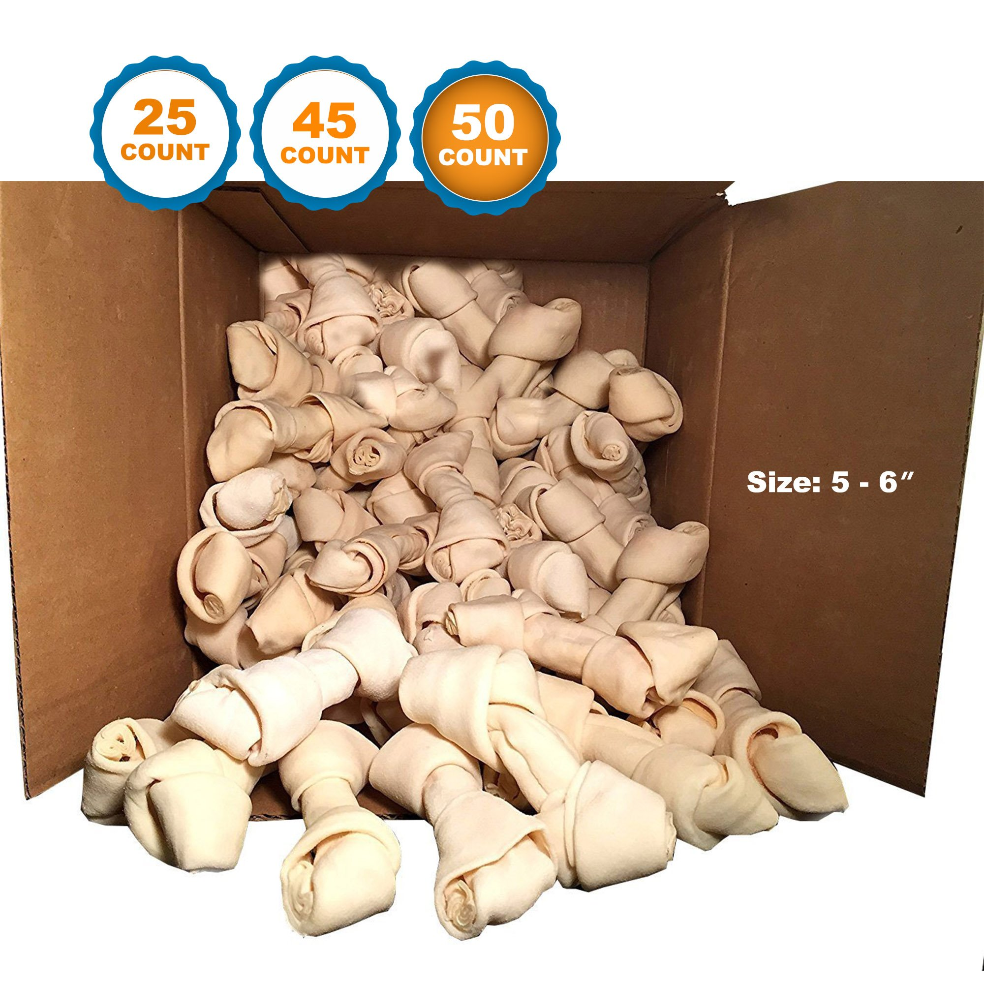 123 Treats | Rawhide Bones 5-6'' (50 Count) 100% Natural Beef Hides Chews| Quality Dog bones| Packed in the USA
