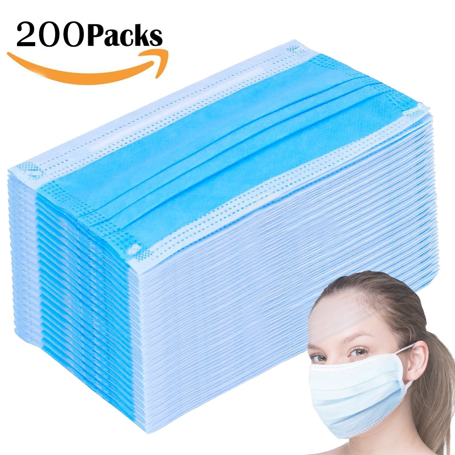 200 Count 3 Ply Filter Mask Commercial Dental Surgical Medical Disposable Earloop Face Masks