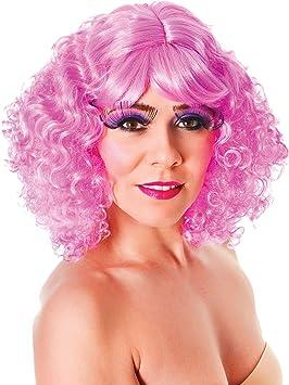 Disfraz Mujer Música Fiesta Nicki Rizado Corto Artificial & Artificiale Peluca Rosa