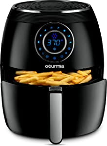 Gourmia GAF615 Digital Free Fry Air Fryer- No Oil Healthy Frying - LCD Display - 8 Presets - 1700 Watt - 6 Qt Basket Pan - Recipe Book Included