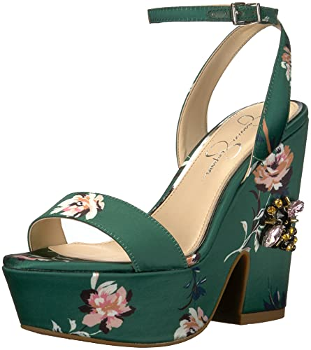 b383ce69ca5 Jessica Simpson Women s Carena Heeled Sandal Emerald Multi 5 Medium US