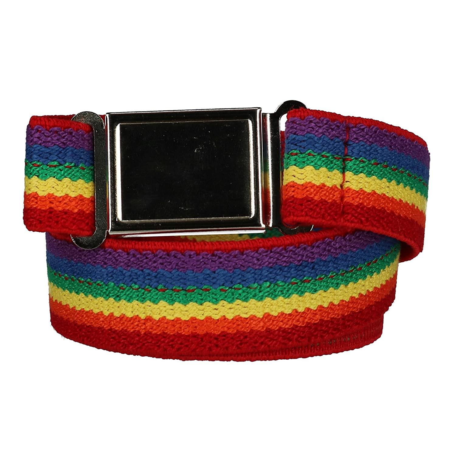 CTM Kids' Elastic Rainbow Adjustable Belt with Magnetic Buckle, Rainbow JK-319RAIN-MUL