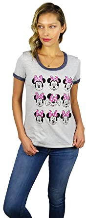 f9425ee897c8 Disney Womens Minnie Mouse Burnout Ringer Tee Pink Bow/Grey (Pink Bow/Grey