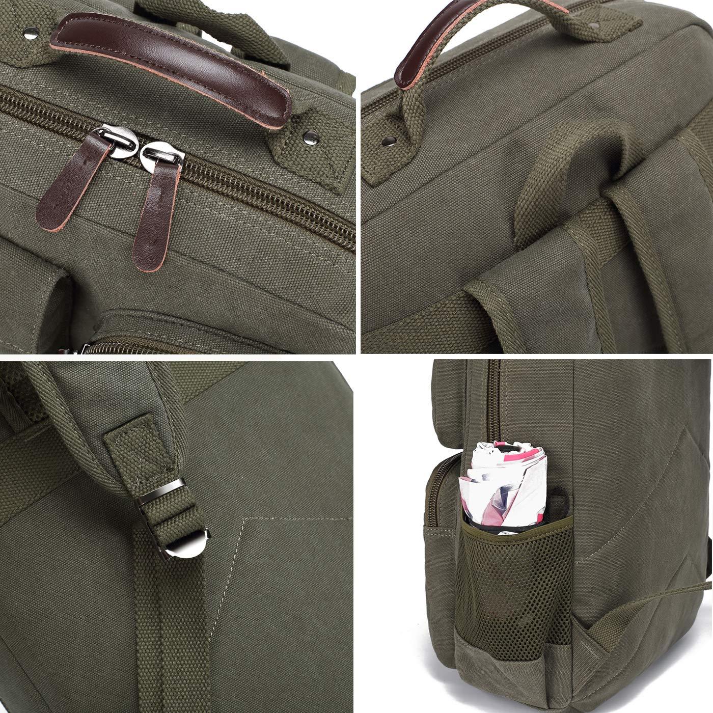School Backpack Vintage Canvas Laptop Backpacks Men Women Rucksack Bookbags (Army Green) by CAMTOP (Image #5)